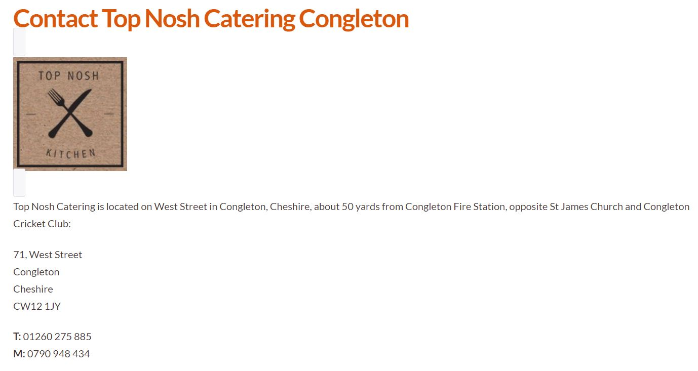 Contact details for Top Nosh